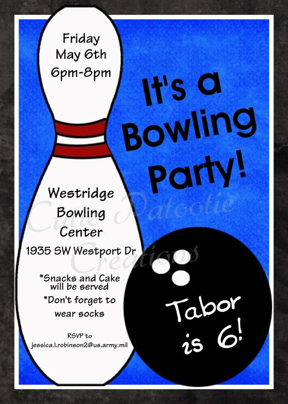 Bowling Birthday Invitation, Printable or Printed Party Invite - bowling flyer template