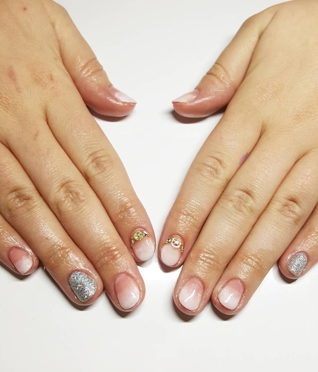#nailart #ombre #rockstarglitter #gelish #dallasbeautylounge #jewels by dallasbeauty_steph