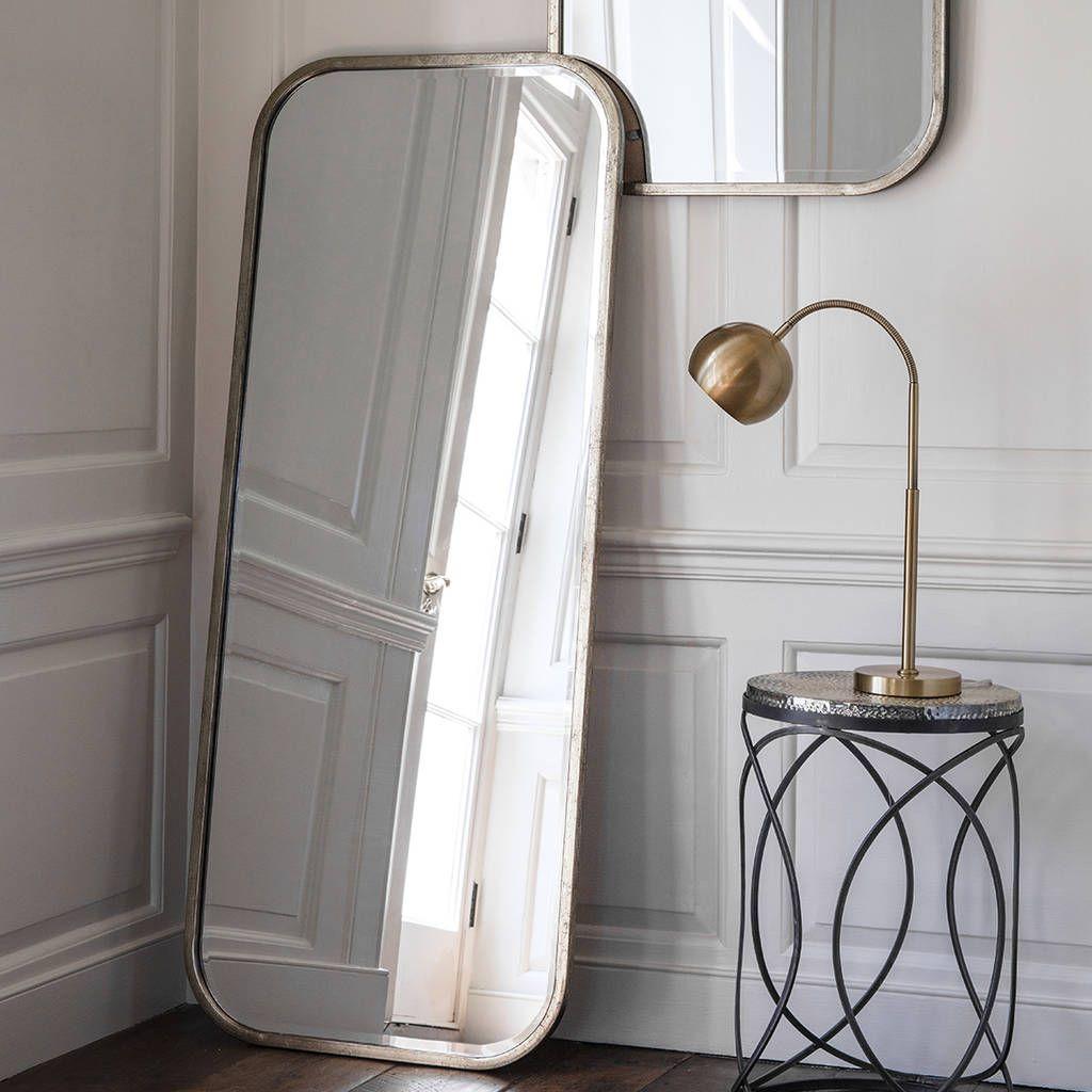 Antiqued Silver Slim Full Length Mirror Leaner Mirror Silver Framed Mirror Mirror