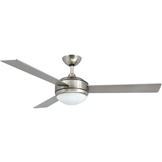Contemporary 52 Inch Brushed Nickel 2 Light Ceiling Fan By Aztec Lighting