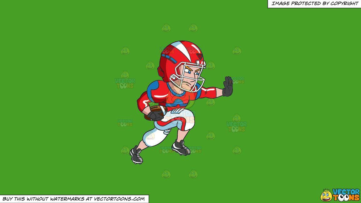 Clipart A Football Player Charges Ahead While Blocking An Opponent On A Solid Kelly Green 47a025 Background In 2020 Football Players Black Gloves Football Uniforms