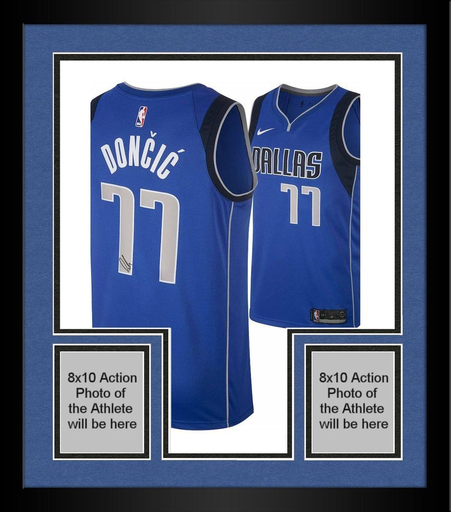 buy online 39824 7a81c Framed Luka Doncic Dallas Mavericks Autographed Blue Nike ...