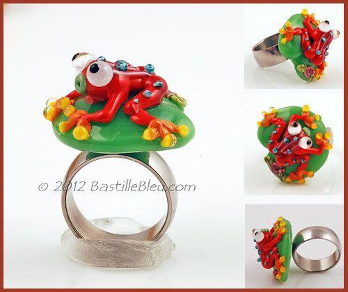 "$30  The ""Hopper"" Ring Topper - Handmade lampwork art beads, jewelry & supplies by Bastille Bleu Lampwork. $30.00, via Etsy."