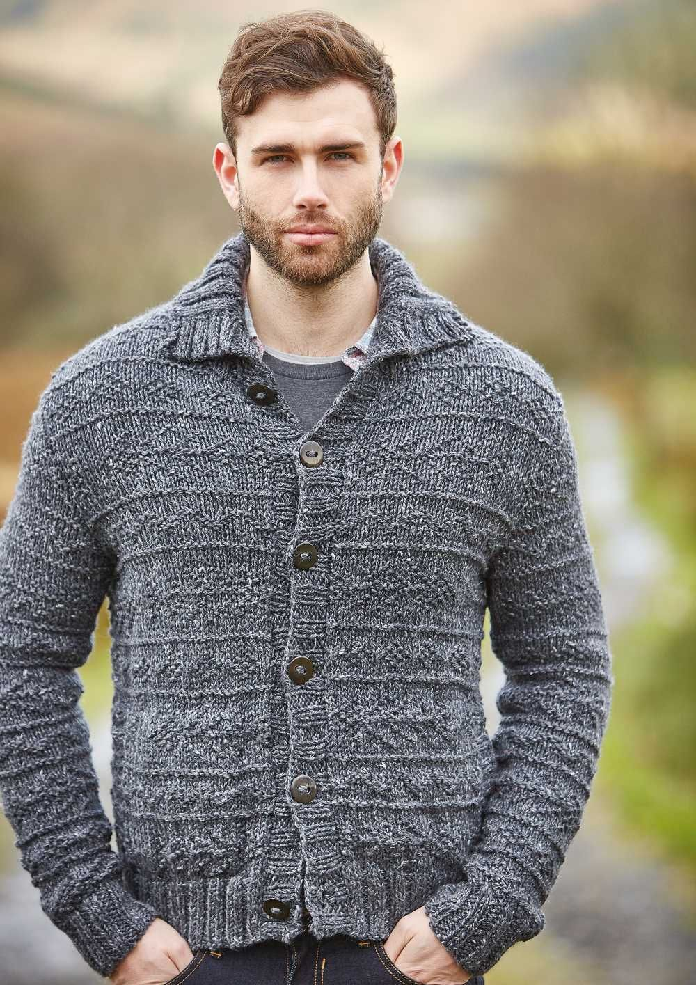 Free Knitting Pattern For A Mens Textured Cardigan Fell Pinterest