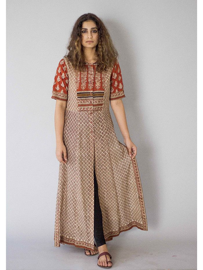 Description: It is a cotton block printed tunic with front ...