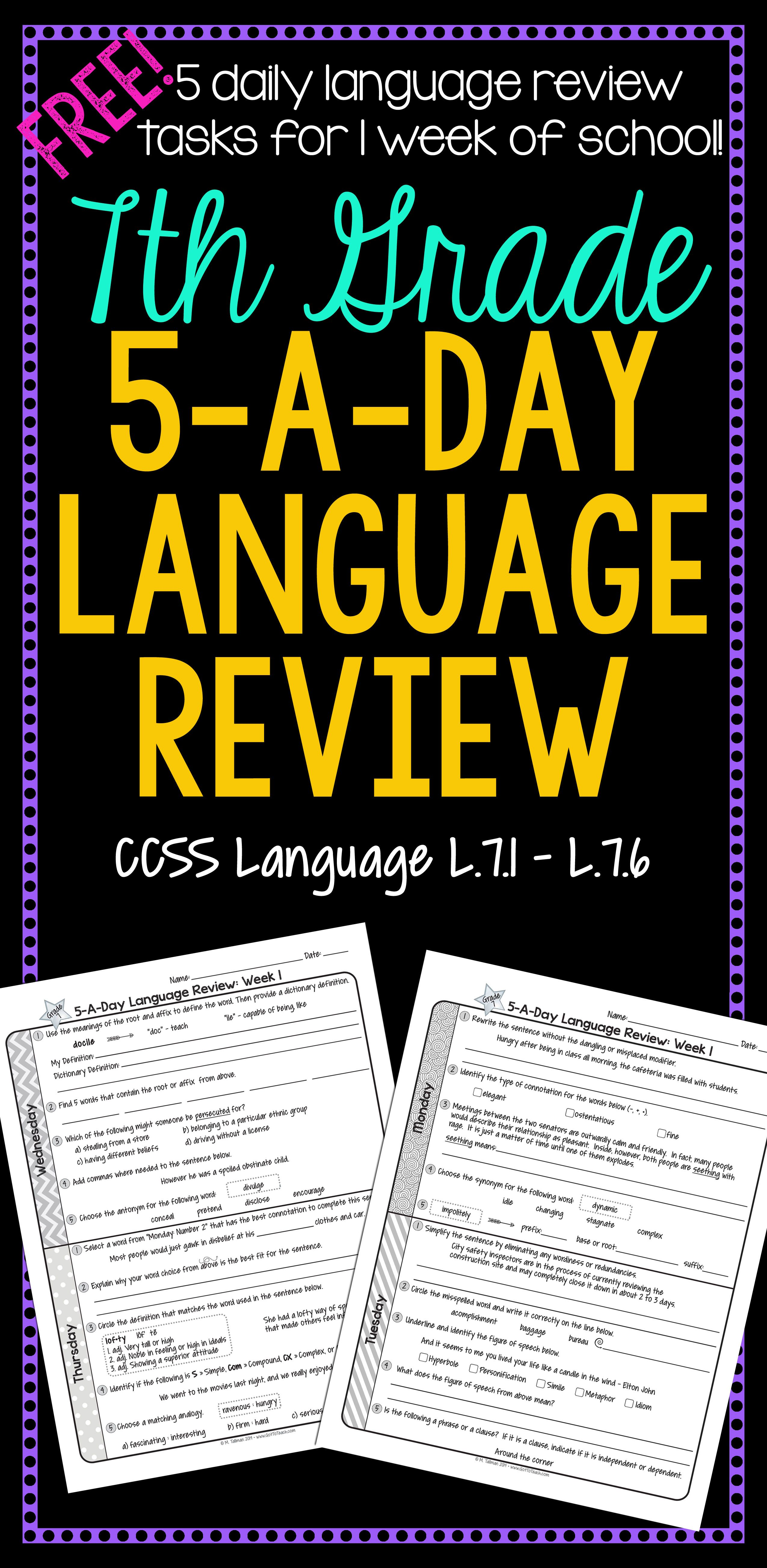 7th Grade Daily Language Review