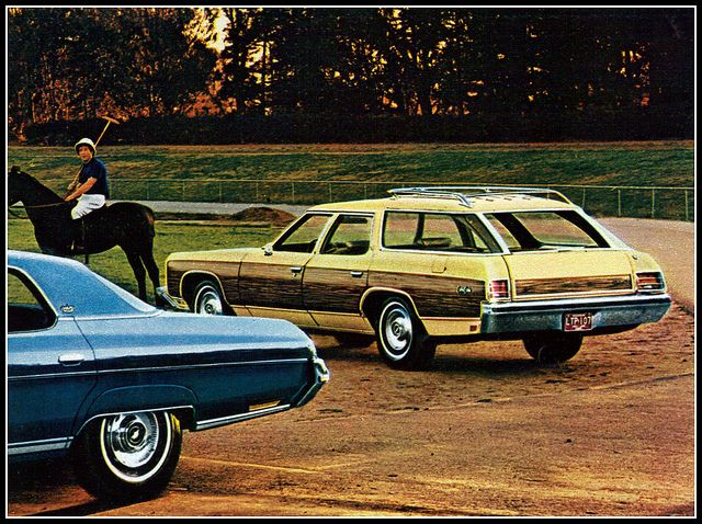 1973 Chevrolet Caprice Kingswood Estate Station Wagon With A Caprice Hardtop In Foreground Station Wagon Chevrolet Caprice Wagon