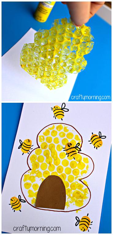 Bubble Wrap Beehive Fingerprint Bee Craft For Kids Bee Art Project