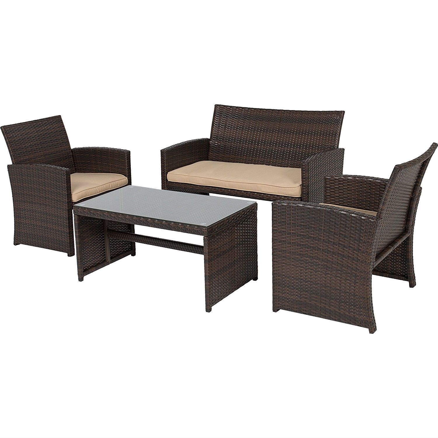 Brown Resin Wicker 4 Piece Modern Patio Furniture Set with Beige