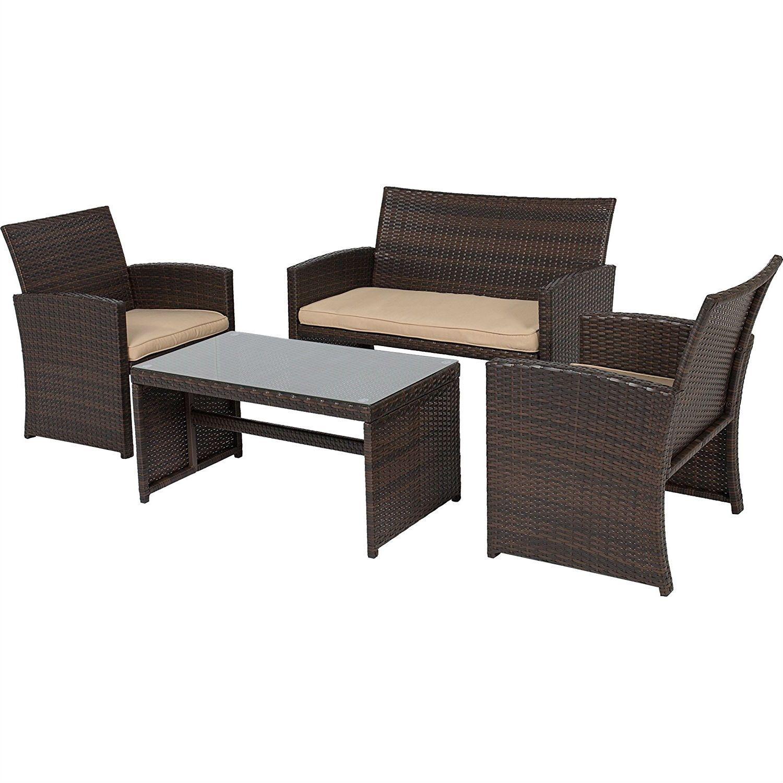 Brown Resin Wicker 4 Piece Modern Patio Furniture Set with Beige
