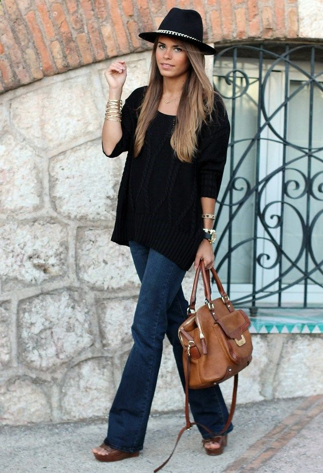 RORESS closet ideas #women fashion outfit #clothing style apparel Black Jumper with Jeans and A Hat