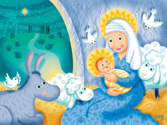 Mary and her Child Jesus Christmas poster by IzzyWhimsyArt on Etsy