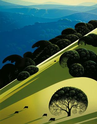 Summer - Eyvind Earle -  Eyvind Earle was an American artist, author and illustrator, noted for his contribution to the background illustration and styling of Disney animated films in the 1950s.   Born: April 26, 1916, New York City  Died: July 20, 2000