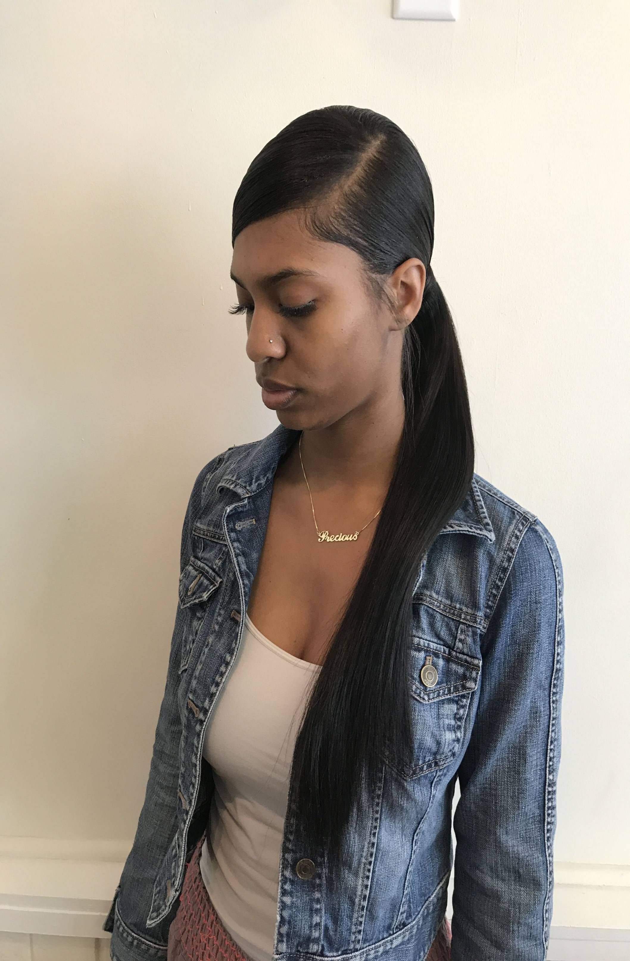 Ponytail For Black Women Low Side Part Weave Ponytail ...