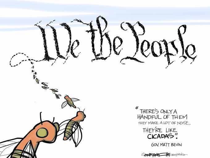 Matt Bevin is Kentucky's governor. The cartoonist's