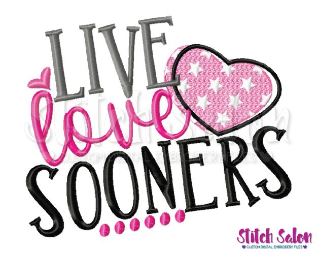 Download Live Love Sooners Embroidery Design Files for Cheer ...