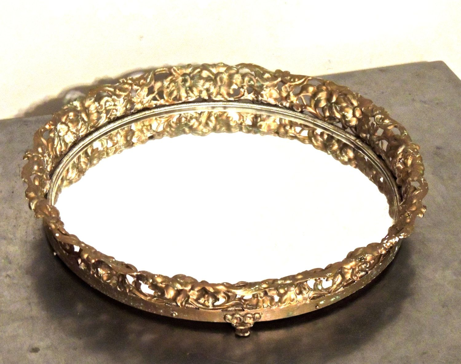 Vintage round mirrored tray 1950s hollywood regency gold