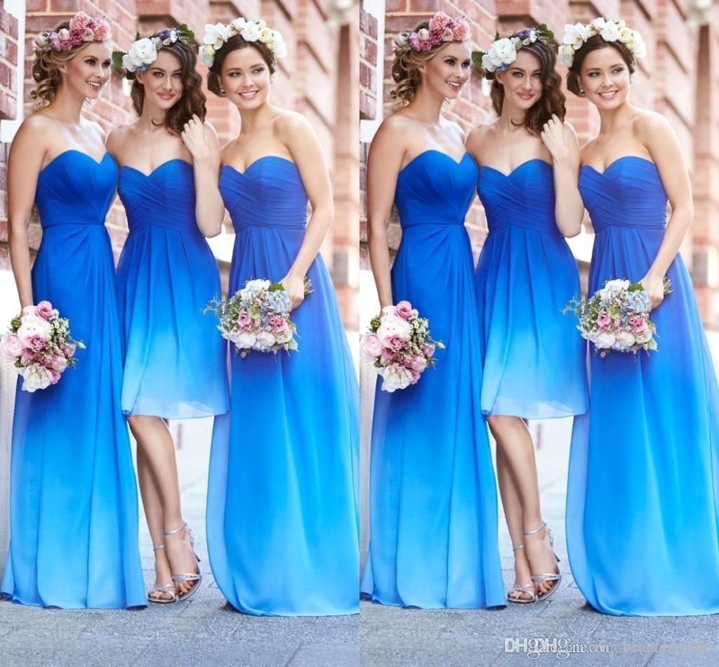 2015 New Fashion Gradient Color Bridesmaid Dresses Ocean