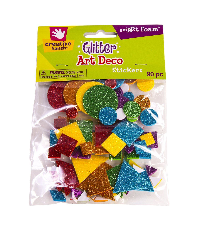 Amazon.com: Creative Hands by Fibre-Craft Foam Glitter Stickers 90/Pkg, Art Deco