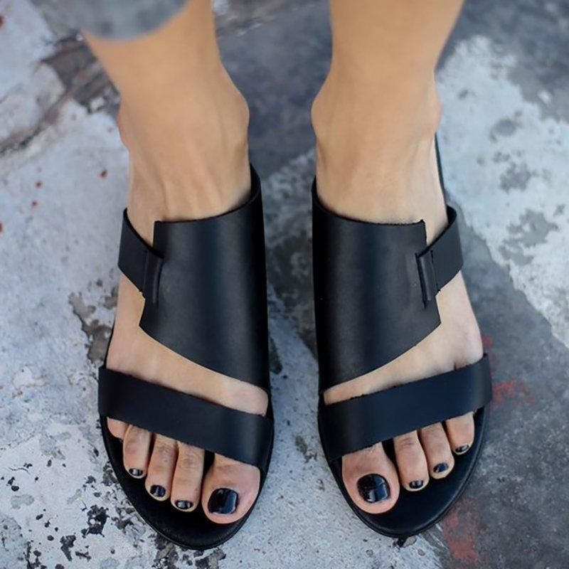 6467ee9542b2 Women PU Slippers Casual Comfort Plus Size Shoes