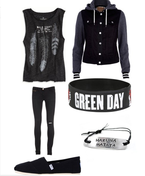 green day, teen style, muscle tee, cute outfit, black jeans, all ...