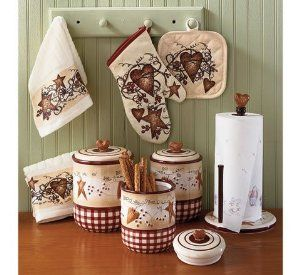 Primitive Country Star Hearts Pip Berries And Vines Canister Set Towels