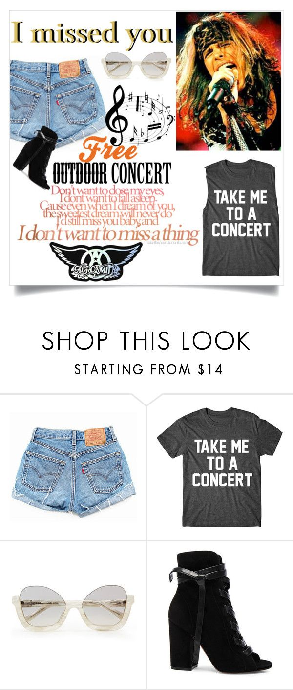 """I should have went"" by lseed87 ❤ liked on Polyvore featuring Levi's, Gianvito Rossi, concert, aerosmith, PHOENIX and az"