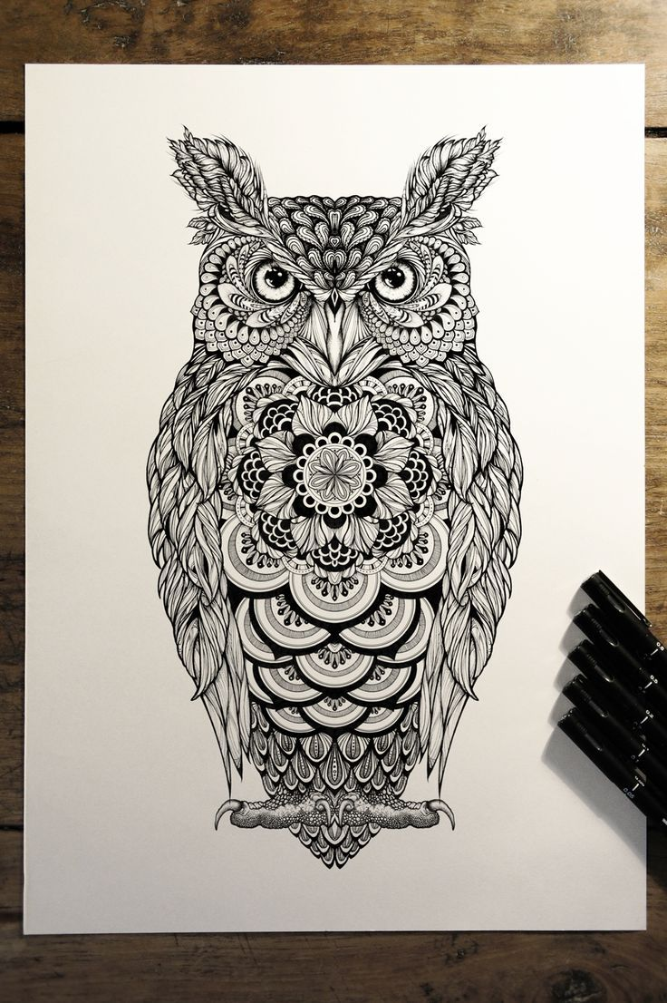 image result for mandala owl tattoo designs
