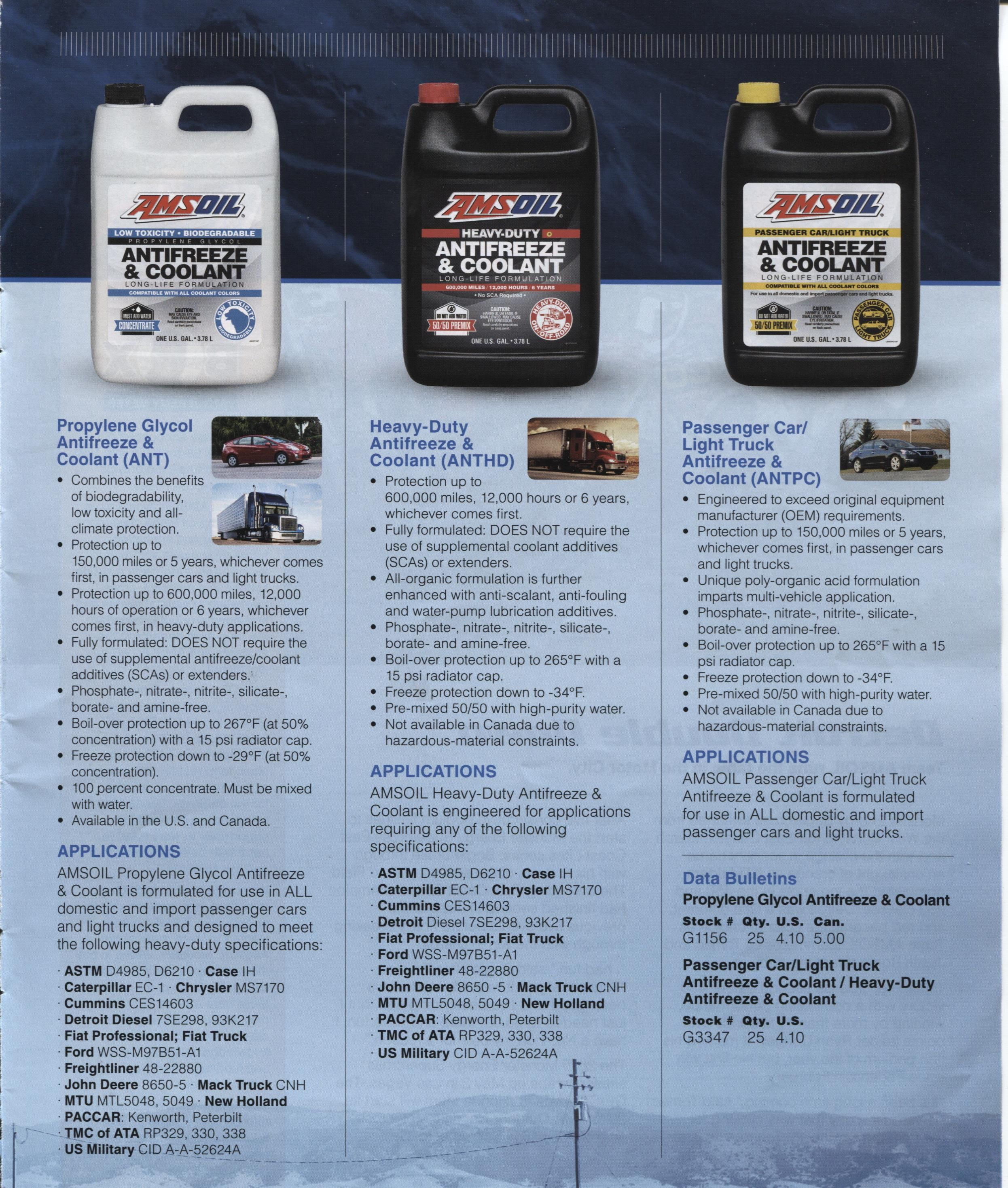 Amsoil Three Types Of Anti Freeze Amsoil Truck Lights