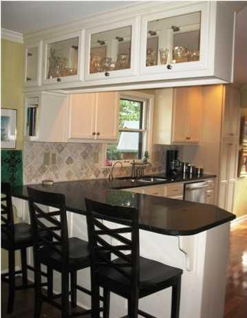 Good Idea For Updating Cabinets Over A Breakfast Bar This Would Create A Much More Open Concept Feel Kitchen Room Design Kitchen Remodel Small Kitchen Decor