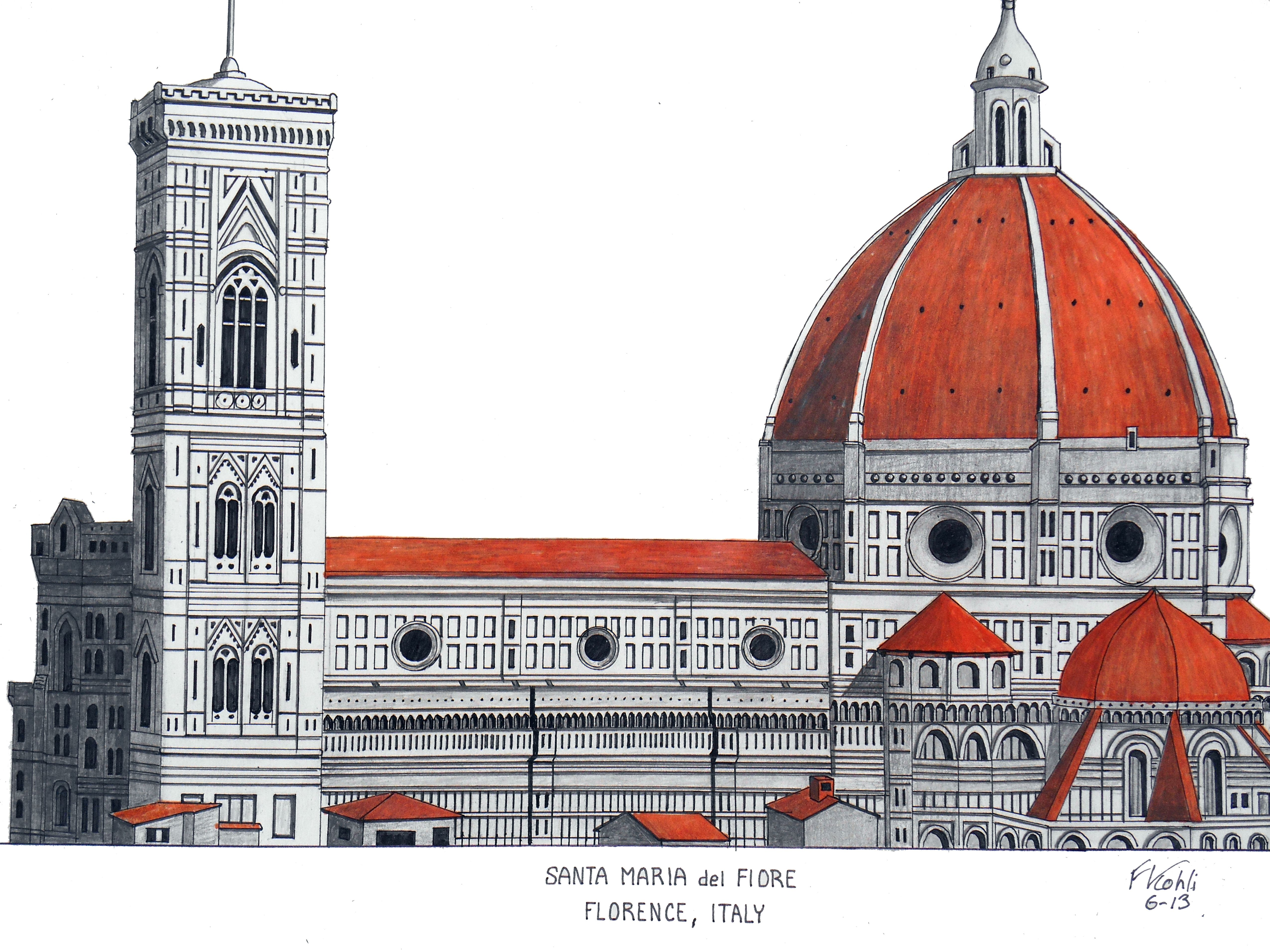 FLORENCE CATHEDRAL - ITALY Pen and pencil drawing. For