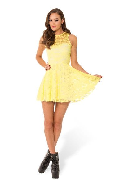 Birthday Ammo 26th November 2014 - Lemon Lace Skater Dress - LIMITED › Black Milk Clothing