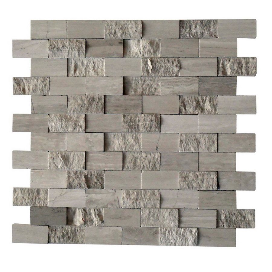 Shop CCI Grey Marble Split Face Natural Stone Mosaic Subway Wall Tile Common X Actual Fireplace Surround