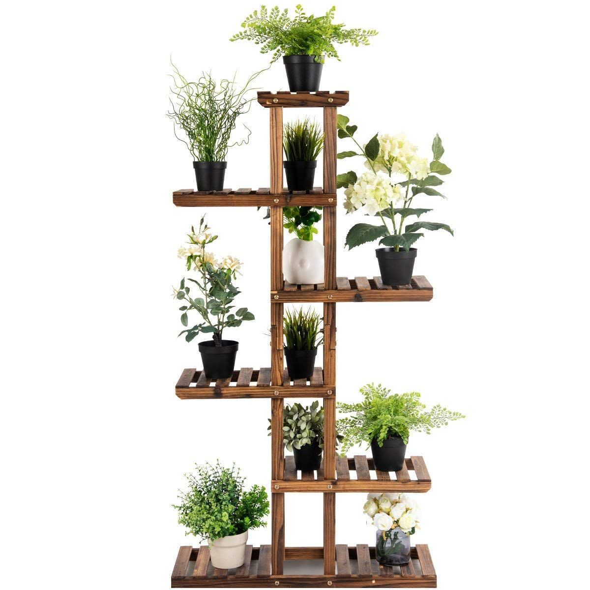 Flower Rack Wood Plant Stand 7 Wood Shelves 11 Pots Bonsai Display Shelf Amazon Com Giantex Indoor Ou Flower Display Wood Plant Stand Plant Shelves