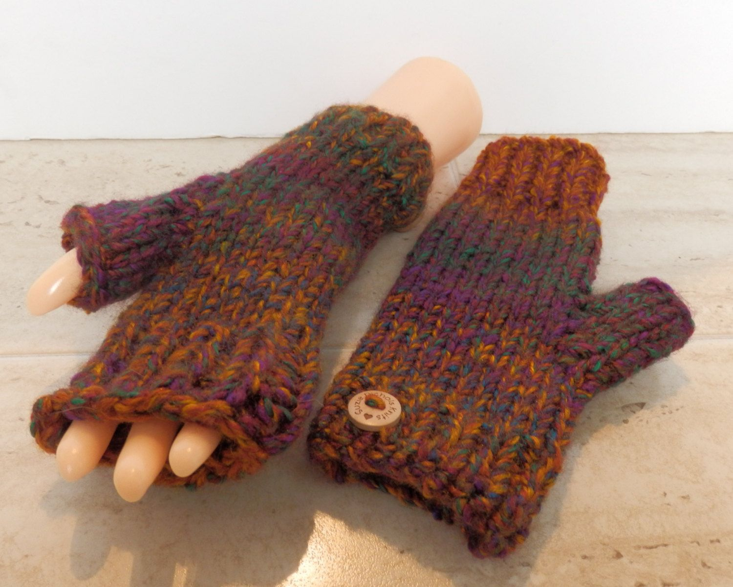 Fingerless Mittens Ladies Hand Knitted Chunky Multicolour