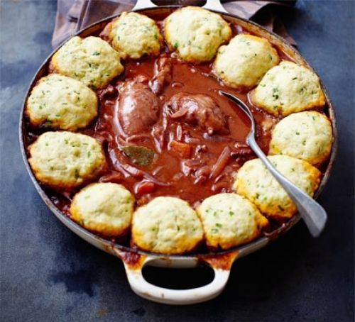 Heat oven to 180c160c fangas 4 toss the chicken pieces with the chicken casserole with herby dumplings recipe recipes bbc good food forumfinder Image collections