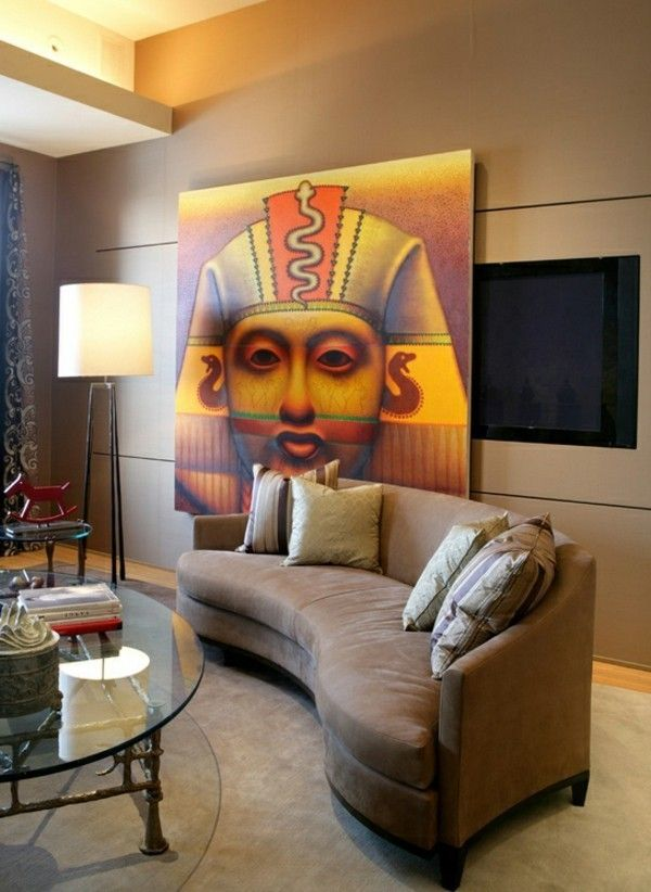 Charming Interior Design Ideas Egyptian Style Color Accents Wall Decoration Ideas  For Living Wall