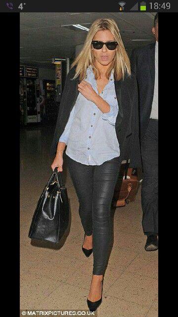 Mollie King. Wayfarer. Leather leggings. Blonde hair. Birkin bag. Heels.