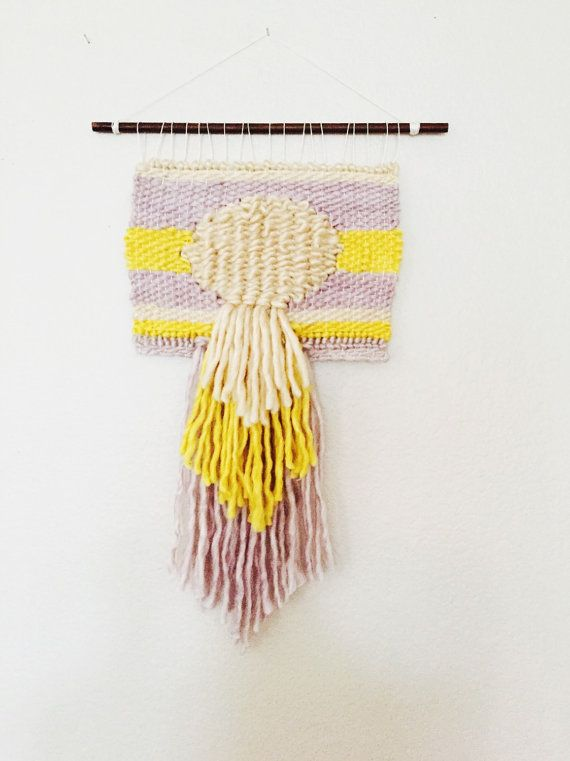 Handwoven Wall Tapestry - Fiber Art- Natural Dyed Yarn- Weaved Wall ...