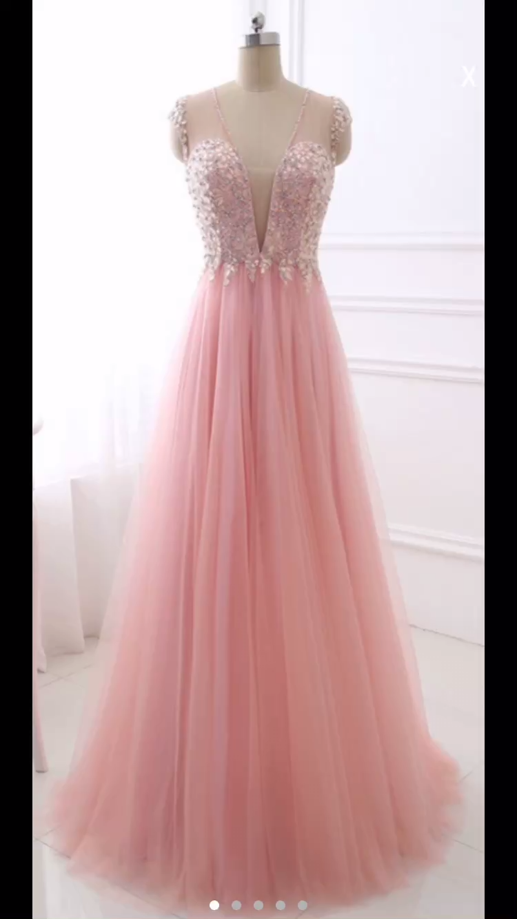 Photo of Pink Deep V-neck Long Tulle Prom Dress Crystals Beaded Women…
