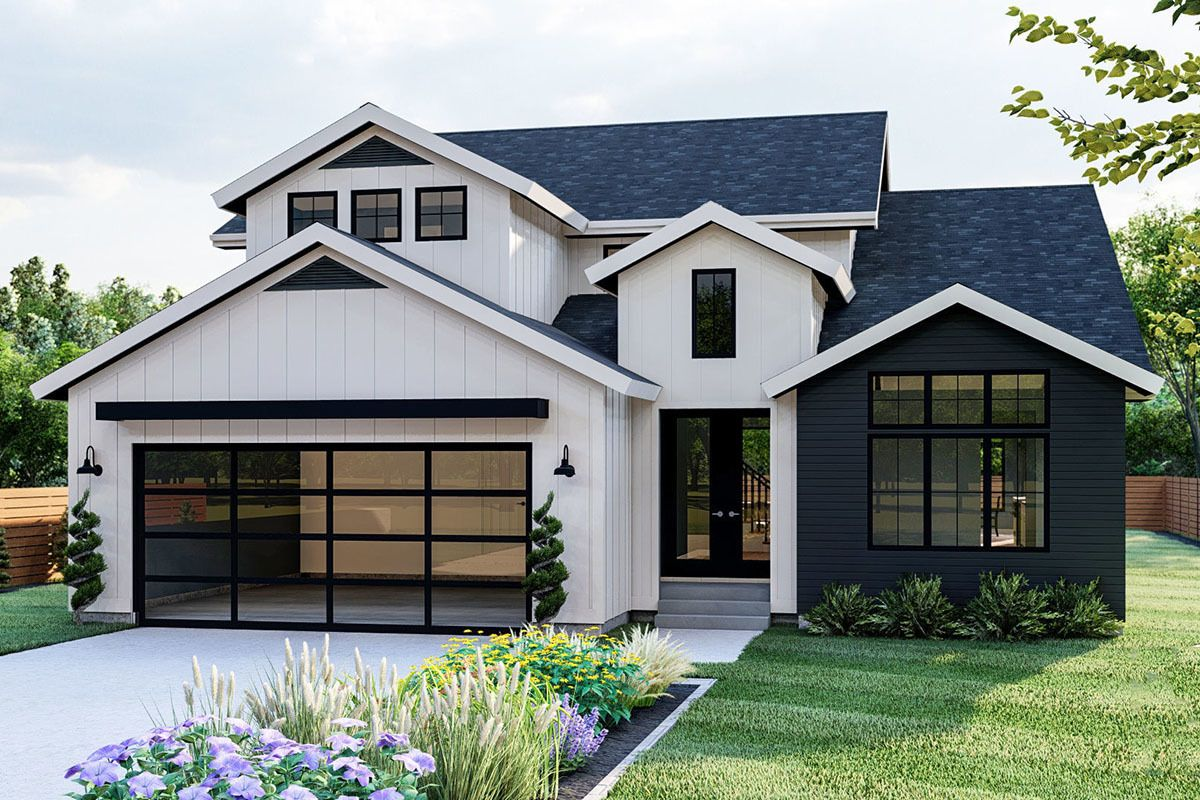 Plan 62882DJ: 4-Bed New American House Plan with 2-Story Great Room