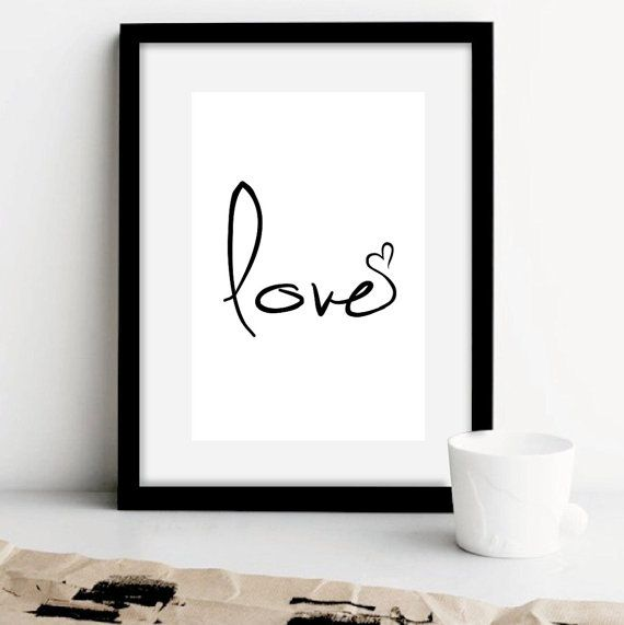 Photo of Items similar to Love sign,love print,love art,love poster,black and white prints,love art prints,bedroom decor,anniversay gifts,valentine,black white,ET171 on Etsy