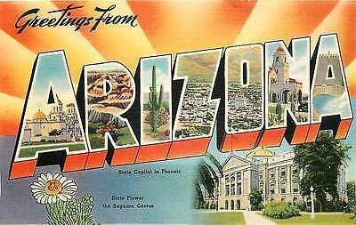 Letter Greetings Custom Arizona Az 1940S Large Letter Greetings From Arizona Vintage Linen .