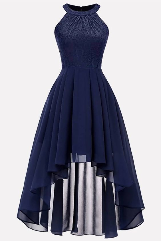Dark-blue Lace Splicing High Low Elegant Chiffon Dress CR 6105