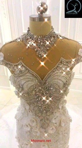Wedding Dress Luxury High Neck Rhinestone Crystal Flowers Mermaid Wedding Dress