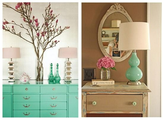 the lamps and the aqua dresser are awesome