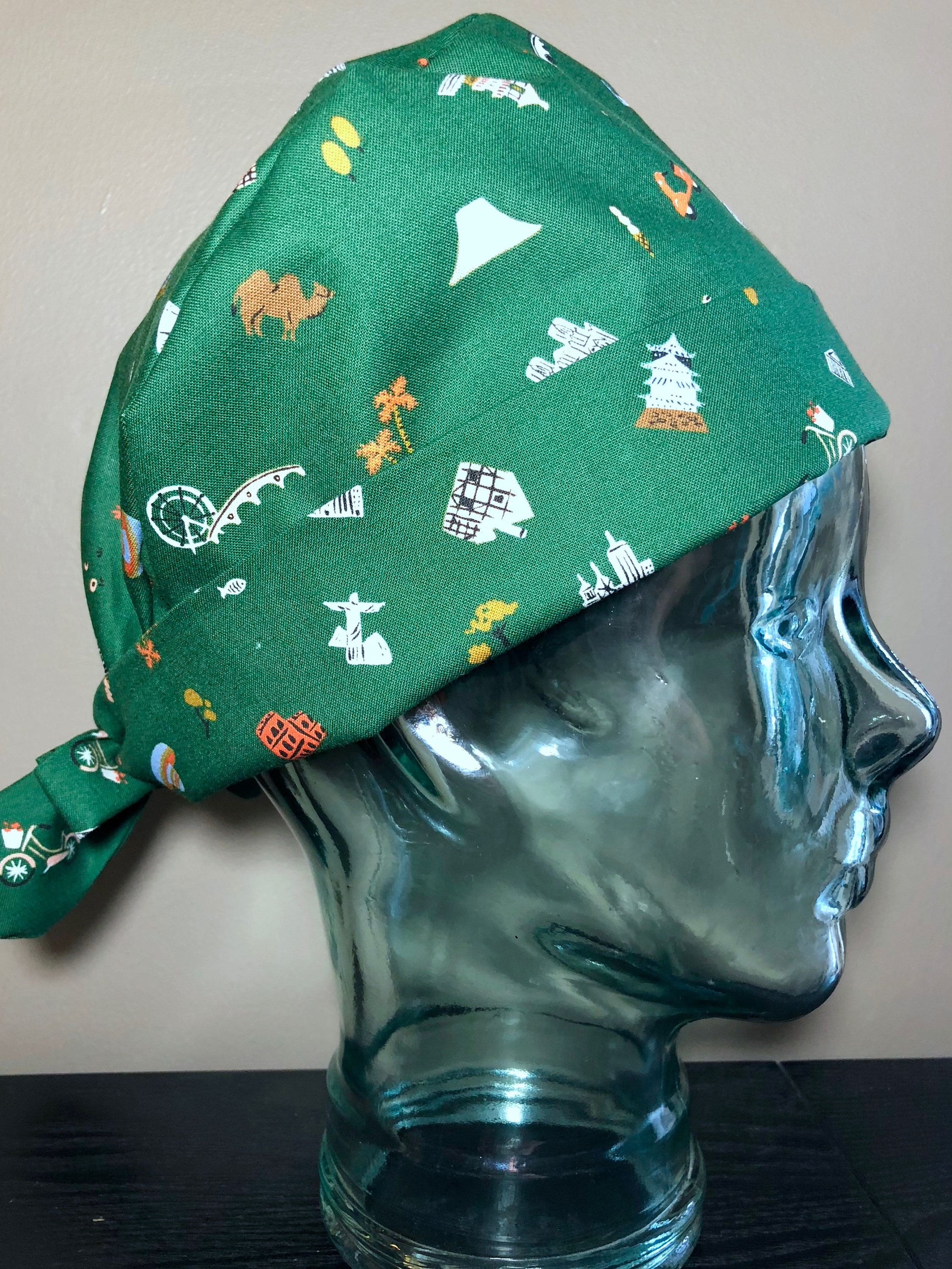 Explorer on Hunter Green Surgical Scrub Hat ce485b5b4d6
