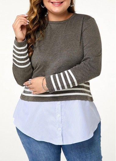 Plus Size Stripe Print Contrast Panel T Shirt