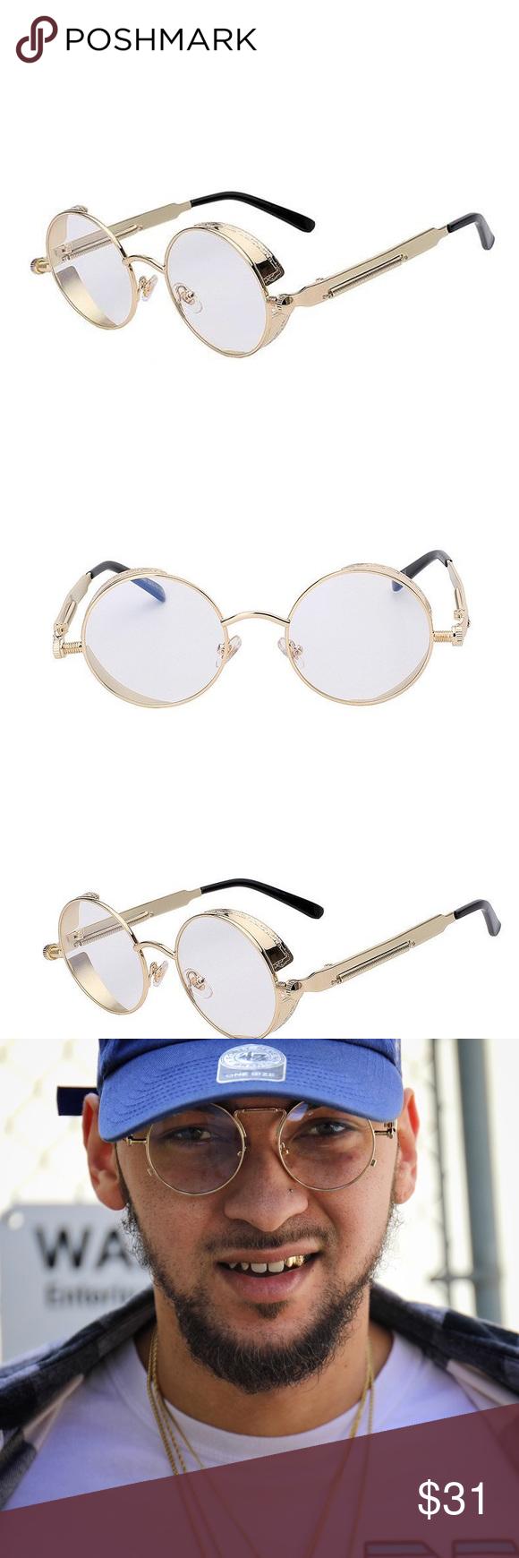 c85cfe1aeb88 Round Gold OG Frame Mens Clear Eye Glasses Round Gold Frame Mens Clear Eye Glasses  Frame Material  Alloy Lens Width  50mm Lens Height  50mm Lens Material  ...
