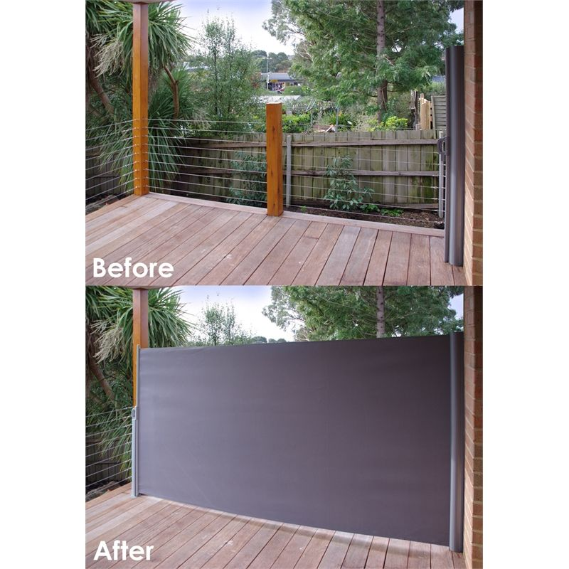 Retractable Outdoor Privacy Screen.Pillar Products 2 X 3m Charcoal Retractable Patio Screen In